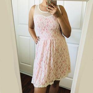 Pink Lace Mesh Dress